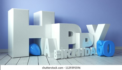 Happy Birthday 3D lettering with balloons for the 60th birthday (3d rendering)