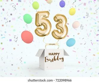 53 birthday images stock photos vectors shutterstock happy birthday 53 years anniversary joy celebration 3d illustration with brilliant gold balloons delight m4hsunfo