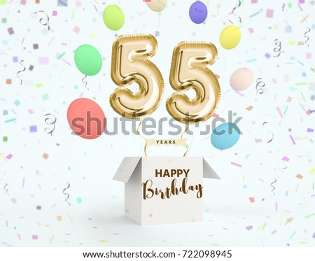 Happy Birthday 55 Years Anniversary Joy Celebration 3d Illustration With Brilliant Gold Balloons Delight