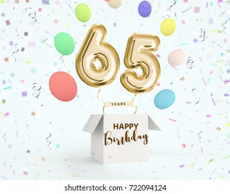 Happy Birthday 65 Years Anniversary Joy Celebration 3d Illustration With Brilliant Gold Balloons Delight