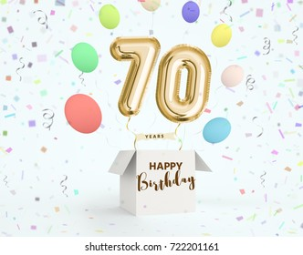 Happy Birthday 70 Years Anniversary Joy Celebration 3d Illustration With Brilliant Gold Balloons Delight