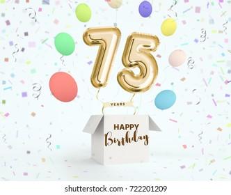 Happy Birthday 75 Years Anniversary Joy Celebration 3d Illustration With Brilliant Gold Balloons Delight