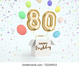 Happy birthday 80 years anniversary joy celebration. 3d Illustration with brilliant gold balloons & delight confetti for your unique greeting card, banner, birthday invitation, celebrate anniversary