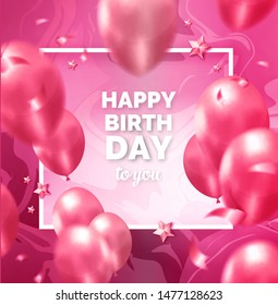 Happy birthday abstract design pink frame with balloons, ribbons, stars
