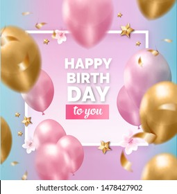 Happy birthday abstract design pink  blue golden frame with balloons, ribbons, flowers, stars