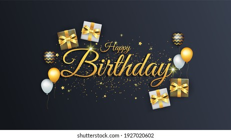 happy birthday banner celebrate with gifts and black background