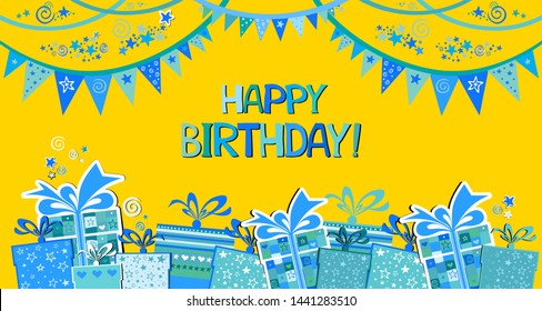 Happy Birthday Banner. Greeting card. Celebration yellow background with blue flags, gift box, stars and place for your text. Horizontal banner. Greeting, invitation card or flyer.  illustration