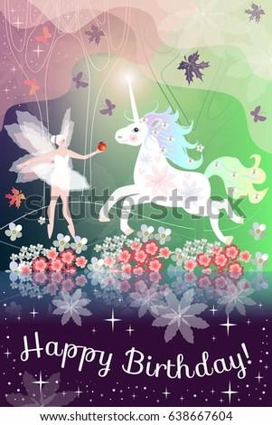 Unicorn Happy Birthday Card For Women Girls Cosmic Magical Design