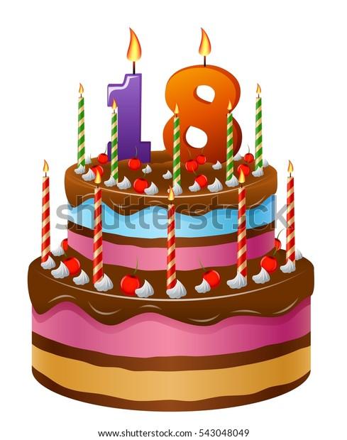 Outstanding Happy Birthday Cake 18 Stock Illustration 543048049 Personalised Birthday Cards Akebfashionlily Jamesorg