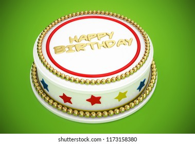 happy birthday cake 3d illustration