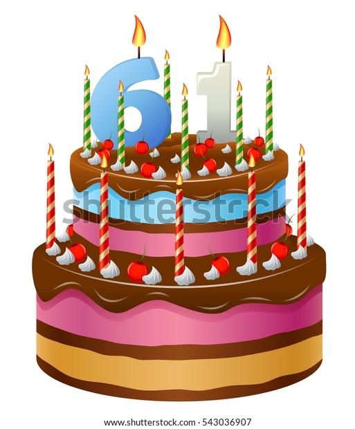 Happy Birthday Cake 61 Stock Illustration 543036907