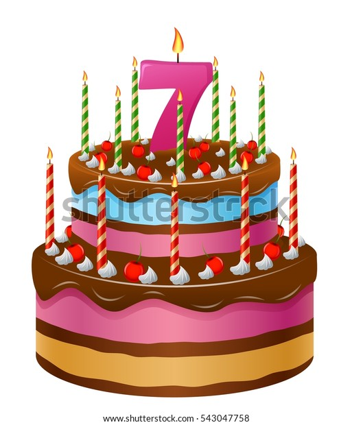 Astounding Happy Birthday Cake 7 Stock Illustration 543047758 Funny Birthday Cards Online Alyptdamsfinfo
