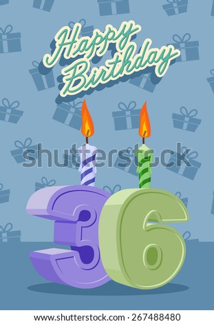Happy Birthday Card With 36 Th Date Of Birth