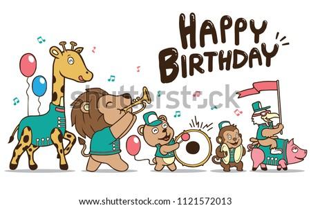 Happy Birthday Card Animal Parede Stock Illustration 1121572013