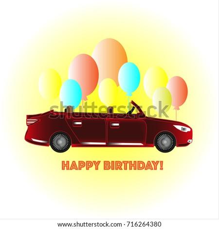 Happy Birthday Card With Car
