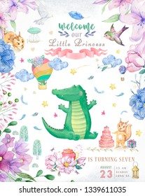 Happy birthday card with cute Croc Dandy Watercolor animal. Cute baby greeting card. Boho flowers and floral bouquets Happy Birthday set. Watercolor greeting baby clip art on white background.