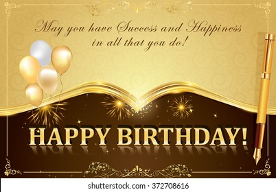 Happy Birthday card with fireworks, balloons and pen, for your boss, colleague, business partners. Print colors used.
