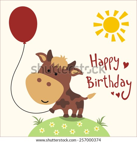 Happy Birthday Card Funny Cow Balloon Stock Illustration 257000374