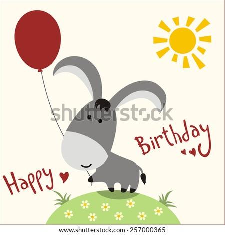 Happy Birthday Card Funny Donkey Balloon Stock Illustration