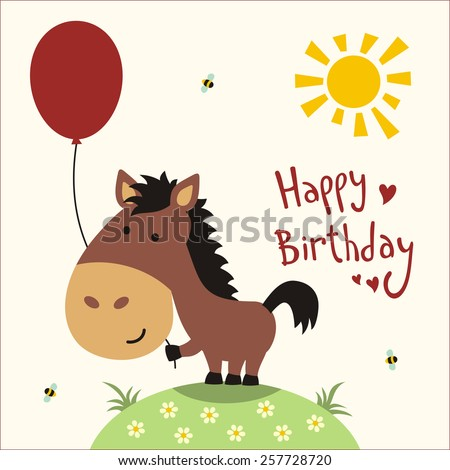 Happy Birthday Card Funny Little Horse Stockillustration 257728720