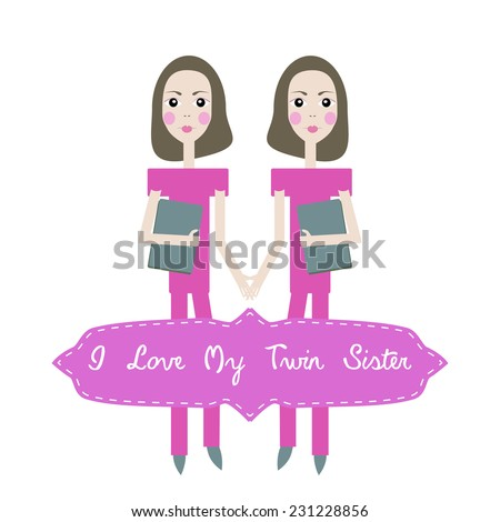 happy birthday card invitation background for twins with text i love my twin sister
