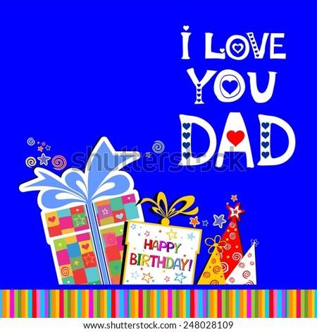 Happy Birthday Card Love You Dad Stock Illustration 248028109
