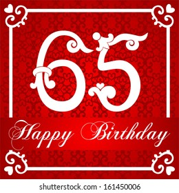 Happy birthday card with number sixty one. Raster Version.
