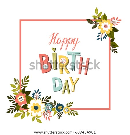 Happy Birthday Card Template Happy Birthday Stock Illustration