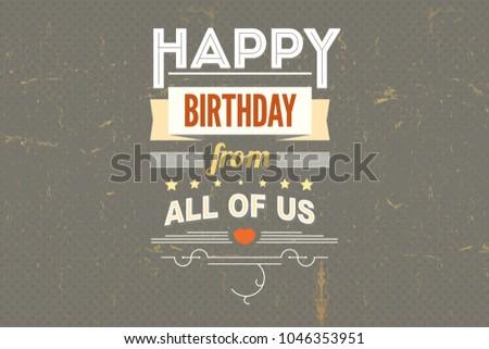 Happy Birthday Card Typography Design Vintage Stock Illustration