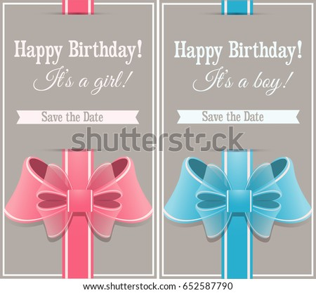 Happy Birthday Cards For Boys And Girls With Bows