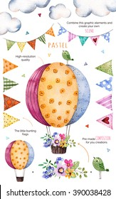 Happy Birthday collection!Pattern with individual elements for your own design:flowers,bunting flags,air ballon,bouquets,garlands,ribbons,Perfect for birthday cards,mother's day,baby cards,invitation
