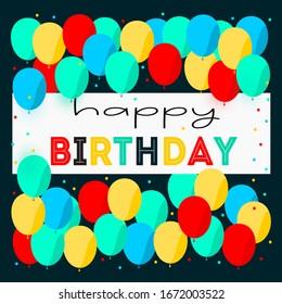 Happy Birthday colorful balloons greening in dark background