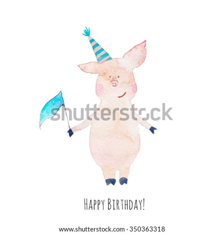 Happy Birthday Cute Card Watercolor Pigs Stock Illustration
