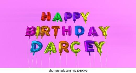 Happy Birthday Darcey Card With Balloon Text