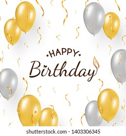 Happy Birthday design on white background. Festive concept with flying gold and silver balloons, golden confetti. Decorated text in the middle, with bow, candle flame, stars.