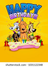 happy birthday dos card party colorful celebration cartoon