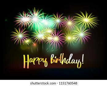 Happy birthday fireworks greeting card with. Raster copy