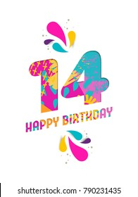 Happy Birthday fourteen 14 year, fun paper cut number and text label design with colorful abstract hand drawn art. Ideal for special event poster, greeting card or party invite.