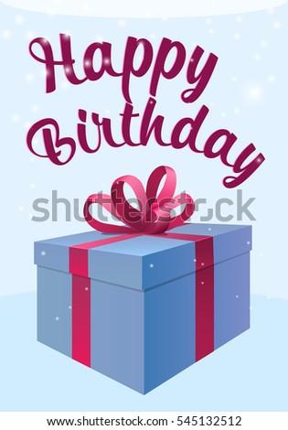 Happy Birthday Gift Box Present Icon Isolated Flat Stock Illustration