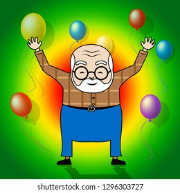 Happy Birthday Grandpa Balloons As Surprise Greeting For Grandad. Best Wishes To Grandfather - 3d Illustration