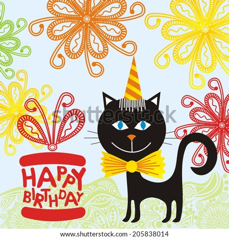 Happy Birthday Greeting Card Cat Gifts Illustration