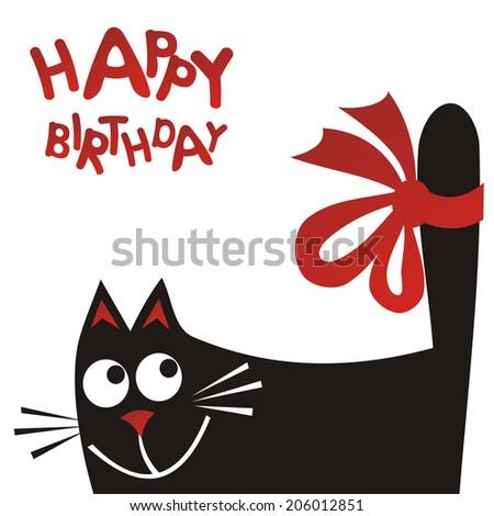 Happy birthday greeting card cat illustration stock illustration happy birthday greeting card cat illustration m4hsunfo