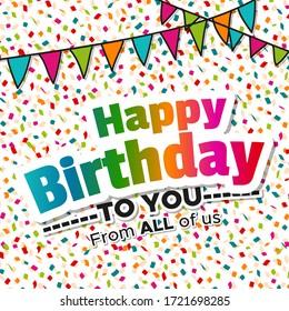 Happy birthday greeting card with confetti.