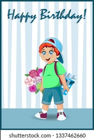 Happy Birthday Greeting Card Of Cute Little Red Head Boy With Bunch Beautiful Flowers And Gift