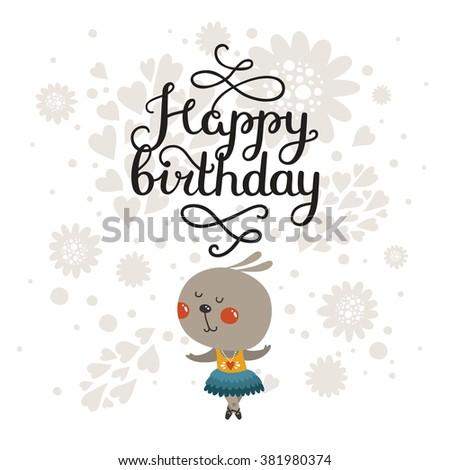 Happy Birthday Greeting Card Cute Rabbit Stock Illustration