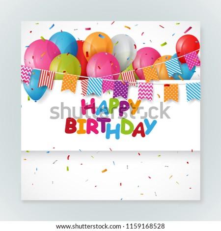 Happy Birthday Greeting Card Design With Confetti