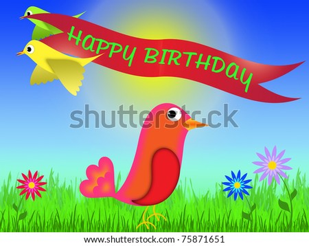 Happy Birthday Greeting Card To Draw In Cartoon Style