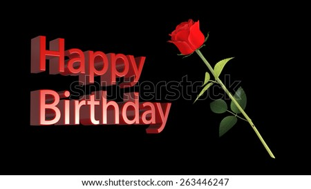 Happy Birthday Greeting Card Red Rose Stock Illustration Royalty