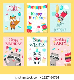 Happy birthday greeting cards. hand drawn templates for kids birthday with cute animals pandas, raccoons, foxes with balloons, gift boxes, cakes, hearts, string flags party decorations.