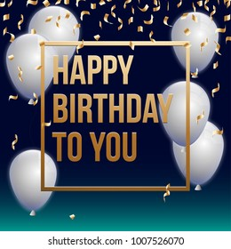 Happy Birthday Vector Illustration Golden Foil Stock Vector Royalty